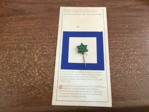 Canadian 1967 centennial Commision Pin Equilateral Triangle Original Card