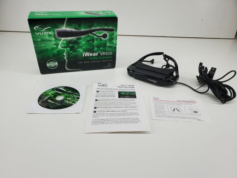 Vuzix iWear VR920 Video Eyewear In Original Box w/ Instructions and CD