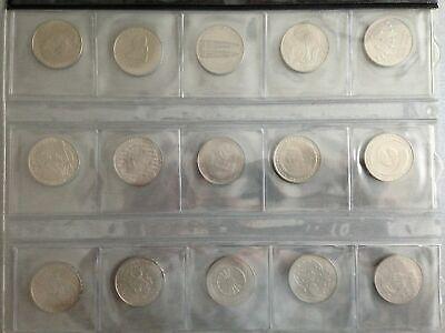5 DM Kupfer/Nickel, J. 426-440, Schnäppchen, 15 Münzen, komplett !!!