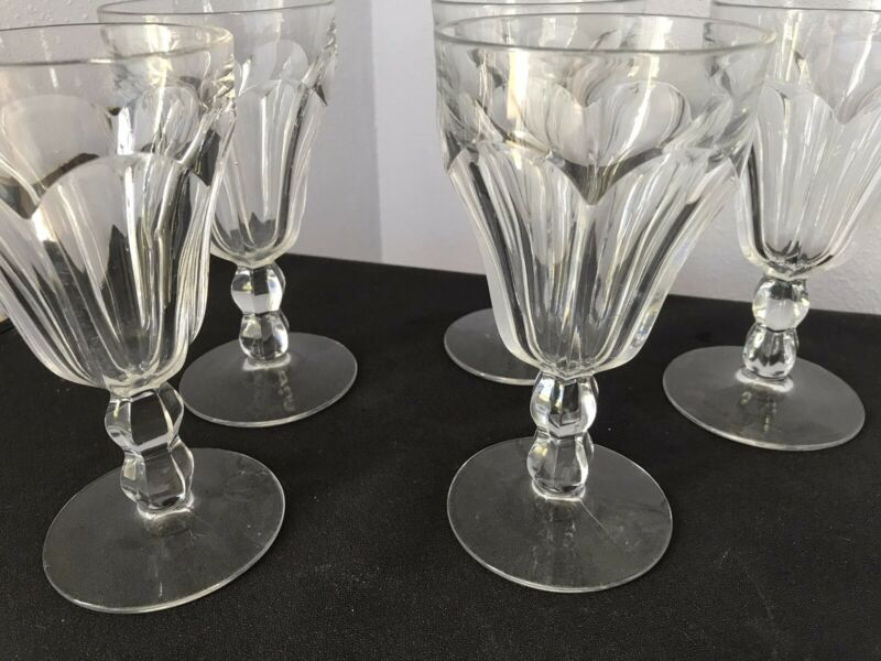 5 COLONIAL PATTERN - WATER GOBLETS - HEISEY