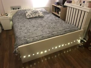 Off-White Queen Bed Frame