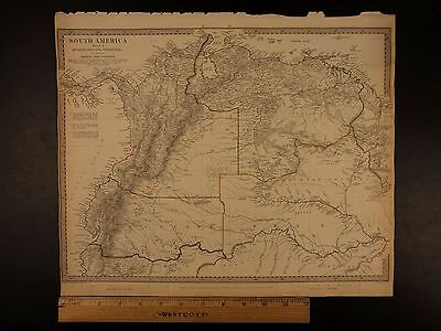 1844 BEAUTIFUL Huge Color MAP of South America Ecuador Granada Brazil ATLAS