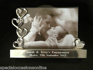 Personalised Engraved Silver Hearts Photo Frame 6 X 4 Wedding Anniversary Gift