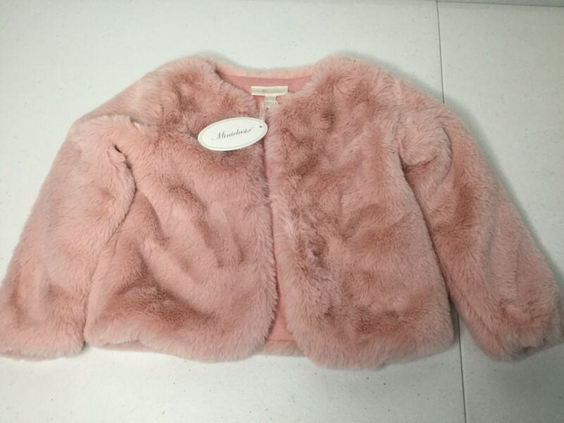MINICLASIX Pink / Old Rose Faux Fur Jacket. Size 12-18 Months. NEW.