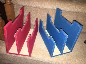 Blue and red mail/paperwork desk organizer