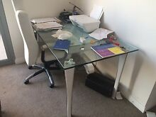 glass and leather desk plus free chair Botany Botany Bay Area Preview