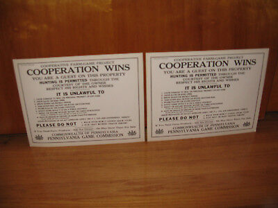 2 PA. GAME COMMISSION HUNTING SIGNS NOS  HEAVY CARDBOARD  1  68 yr old & 1 50