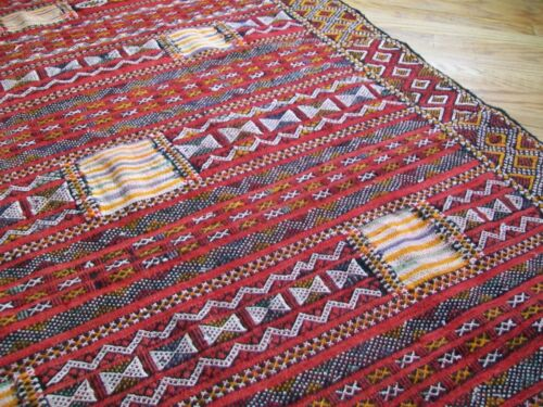 Hand Woven Wool Folk Art Loom Embroidered Tapestry Rug Hanging Wall Art Kilim