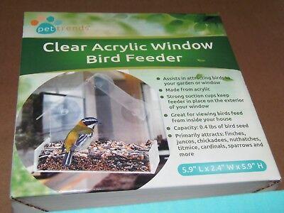 Pet Trends Acrylic Clear Pet Bird Seed Food ~ Window Feeder (PO-24)FREE SHIPPING