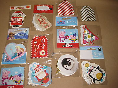 100 PACKETS GIFT TAGS LABELS CHRISTMAS TAG PEPPA PIG FROZEN WHOLESALE JOB LOTS
