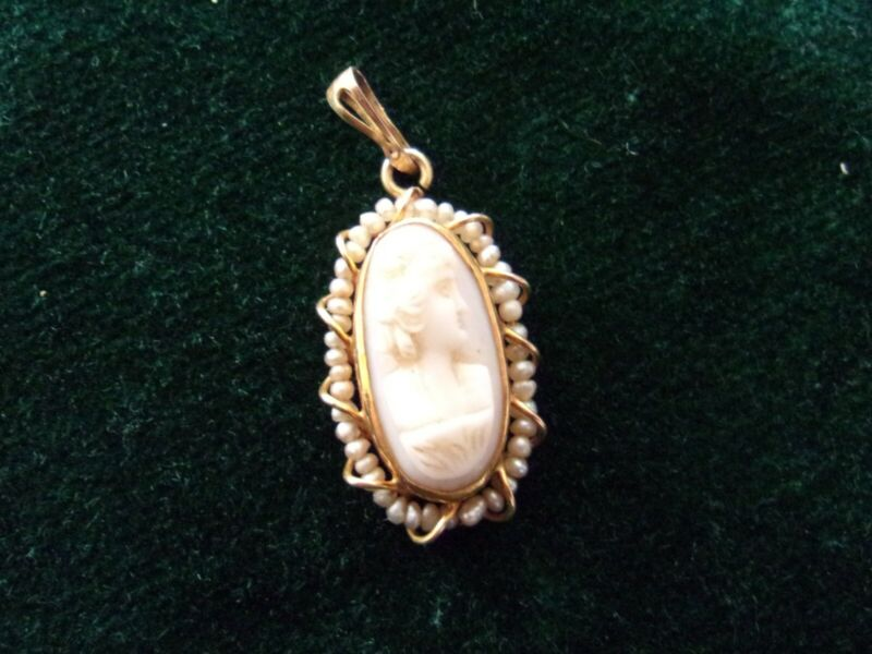antique small oval cameo and gold pendant with seed pearls