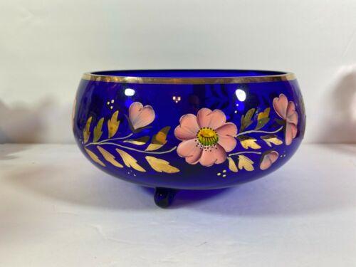 Vtg Egermann Bohemian Art Glass Hand Painted colbalt Blue Bowl gold   r66