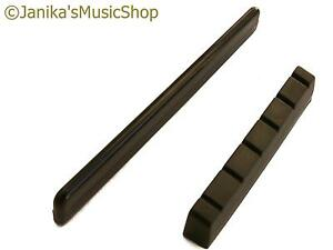 Black classical guitar bridge saddle and end nut