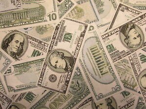 MONEY TEN DOLLAR BILLS $ FIVE CURRENCY COTTON FABRIC FQ