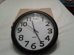 Hippih 10 Silent Quartz Decorative Wall Clock Non-ticking Digital Black