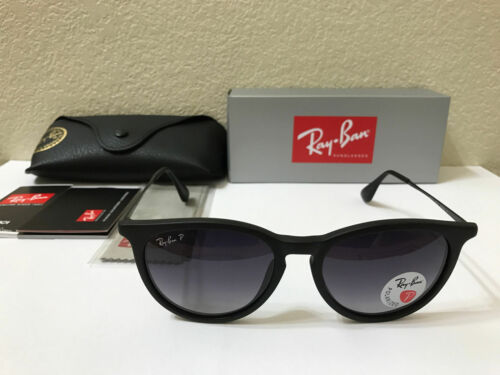 RAY-BAN Sunglasses Erika Polarized Matte Black Frame W/Grey Gradient 54M