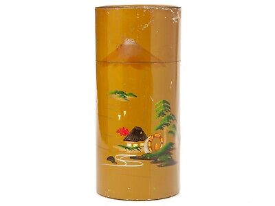 Vintage Cylindrical Tin - Embossed Painted Mount Fuji Japanese Metal Container