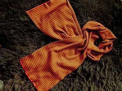 Attraktiver gr.Streifenschal Feinstrick aparte Farben rostrot-oliv 38 x 200 cm