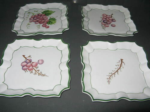 Set of 4 Vietri Italy DISAPPEARING GRAPE Wall Plates 1995 Handpainted W/Hangers