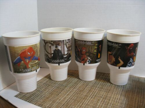 Burger King - Spider-Man 2 - Set of 4 - 42 oz. Plastic Cups - 2004 - Game Used