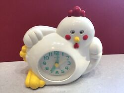 Vintage Rhythm Chicken Alarm Clock Quartz Battery Works!
