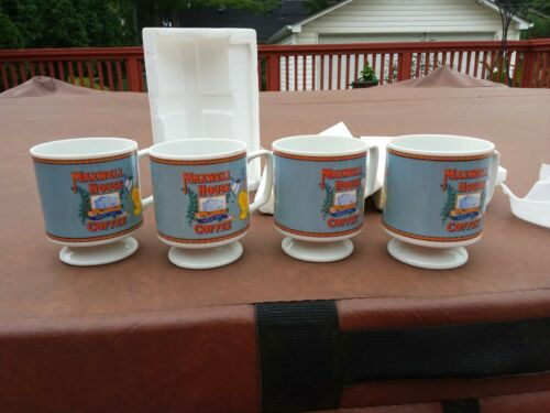 Set of 4 Vintage Maxwell House Small Pedestal Expresso/Coffee Cups