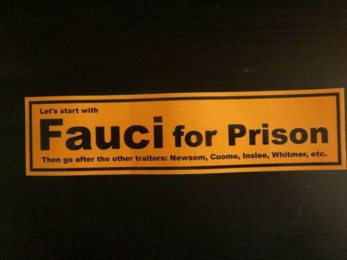 Fauci for Prison, Anti Fauci (aka Ratman or Dr. Quack) Political Bumper Sticker