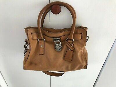 MICHAEL KORS Hamilton Satchel Bag Purse Lock & Key Logo Charm Brown Leather