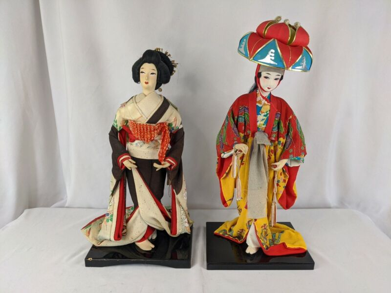 "(2) VINTAGE 15"" + 17"" JAPANESE Doll figure Bijin Kimono Geisha Traditional Girl"