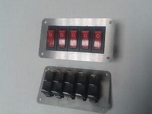 Schalterpanel 5x Ein-Aus Schalter 230V  Edelstahlblende matt  NEU sehr klein