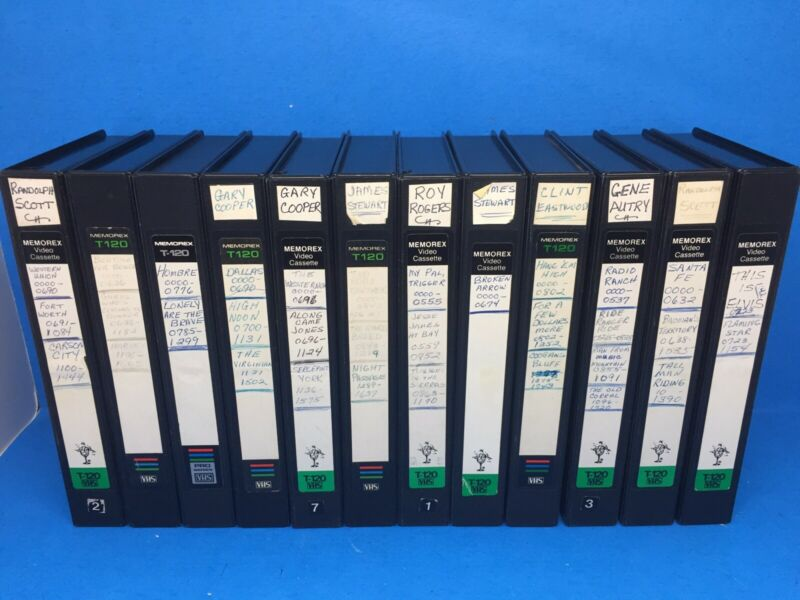 Sold As Blank VHS Lot x12 Clamshell Cooper Eastwood Western tbs wgn nbc 80s 90s