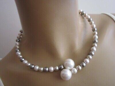 Modekette Collier Damen Hals Reif Kette kurz + - Perle Halskette Set