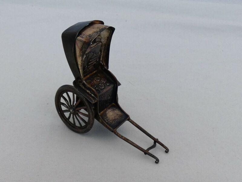 Vintage Japanese .950 Silver Rickshaw Salt Shaker XL-17