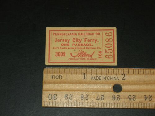 EARLY PENNSYLVANIA RAILROAD JERSEY CITY FERRY TICKET