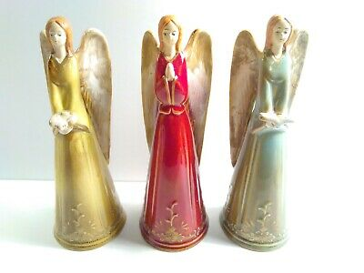 Ceramic Trio Angels Bells and Wings Christmas Holiday Figurines Set of Three