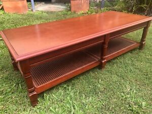 Coffee Table Rectangular, With Cane Shelving