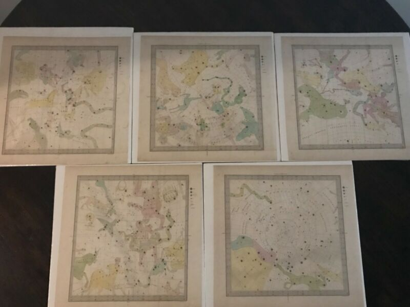 1845 Bradford Set of FIVE AUTHENTIC Celestial Maps of the Constellations