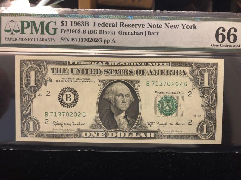 $1 1963-B FRN Fr. 1902-B-BARR NOTE New York  PMG GEM 66EPQ