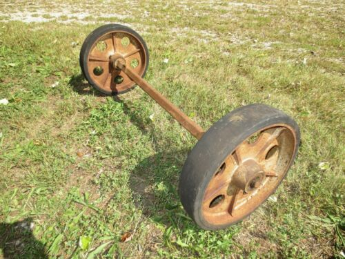 "Vtg Antique 12"" Industrial Warehouse Cart Table Caster Wheels Cast Iron w/ Axel"