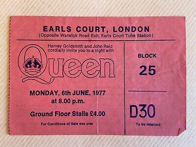 Queen 1977 Day at the Races Tour Ticket stub