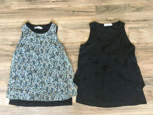 Latched Mama Nursing Breastfeeding Sleeveless Top Shirt Lot Black Geometric Sz S