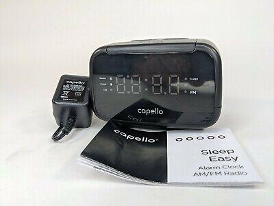 Capello Sleep Easy Digital Alarm Clock with AM/FM Radio Black CR15 USED