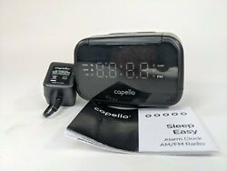 Capello Sleep Easy Digital Alarm Clock with AM/FM Radio Black CR15 USED