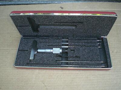 Starrett No. 449 Rotating Blade Depth Micrometer Set With Case