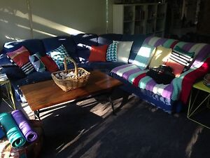 Blue suede modular lounge sofa with coffee table Sandringham Bayside Area Preview