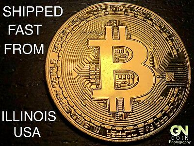 Fast Usa Shipping   Bitcoin Commemorative Physical Coin Gold Color   Crypto Gift