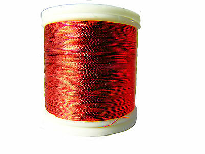 OLDE FLY SHOP ROD BUILDING METALLIC THREAD 100YDS SIZE A   RED #YC120