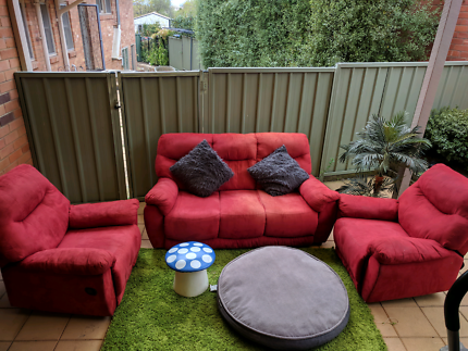 Red Sofa 3 seater includes 2 recliners