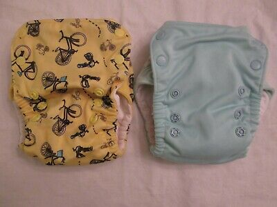 Lot 2 GroVia AIO All In One Cloth Diapers with Snap-in Boosters Ice Bicycles