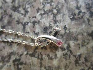 Womens Silver Pink Ribbon Necklace ***BRAND NEW*** Campbell North Canberra Preview